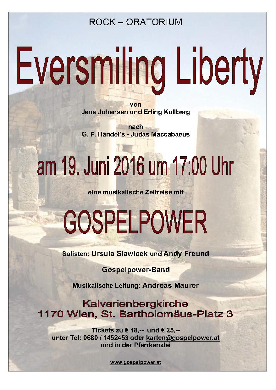 Veranstaltungshinweis für 'Eversmiling Liberty' mit Gospelpower am 19.Juni 2016